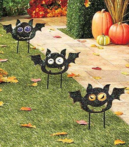 Set of 3 Playful Metal Black Bat Halloween Yard Decor Creepy Spooky Haunted House Stakes (Yard Stakes)