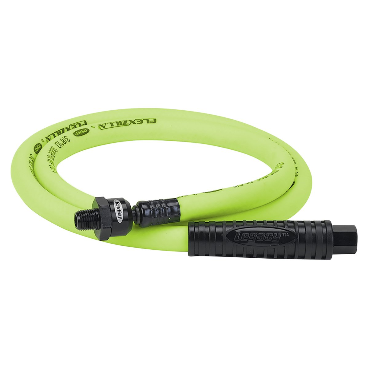 Flexzilla Ball Swivel Whip Air Hose, 3/8 in. x 4 ft. (1/4 in. MNPT Ball Swivel x 1/4 in. FNPT Ends), Heavy Duty, Lightweight, Hybrid, ZillaGreen - HFZ3804YW2B