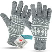 Winter Gloves For Women: Women's Cold Weather Warm Snow Glove: Womens Knit 3M Thinsulate Thermal Insulation