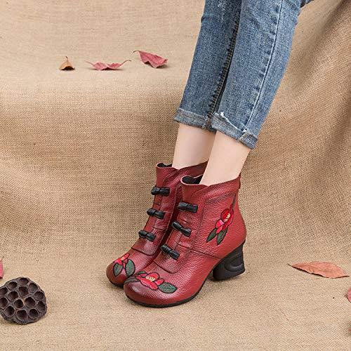 Nero Nero Blocco Cerniera in Donna con Stivali Stivali EU 39 Fiore Gaslinyuan Colore Pelle Dimensione Ricamo Rosso wTIqvv