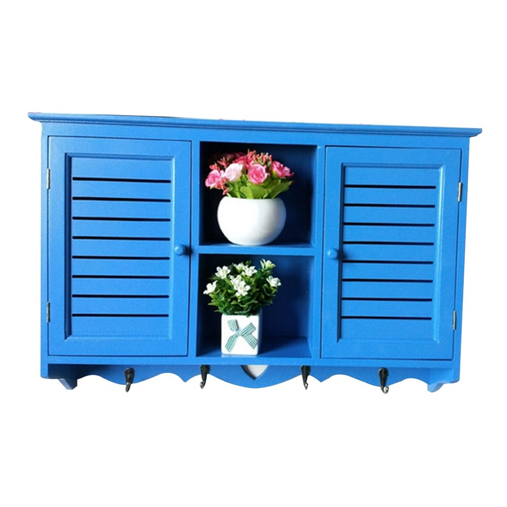 Vogvigo Home Fashion Wall Cabinet with 2 Door Wood For Kitchen Bathroom Hanging Cabinets Storage (Blue large)