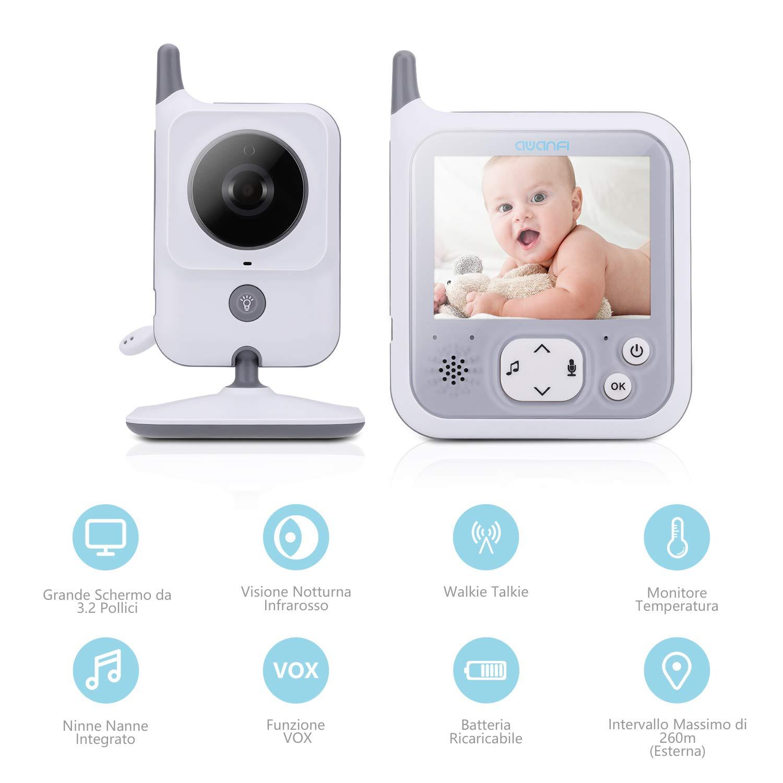 Vigilabeb/és Inal/ámbrico Beb/é Monitor Pantalla 3.2,AWANFI C/ámara de Vigilancia para Ni/ños,Activaci/ón por Voz,VOX,Comunicaci/ón Bidireccional,Visi/ón Nocturna,8 Canciones de Cuna y Sensor de Temperatura