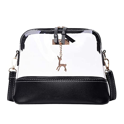 35cc9c2ea370 Rakkiss Women Transparent Crossbody Bag Fawn Pendant Shell Shoulder Bag  Messenger Bag