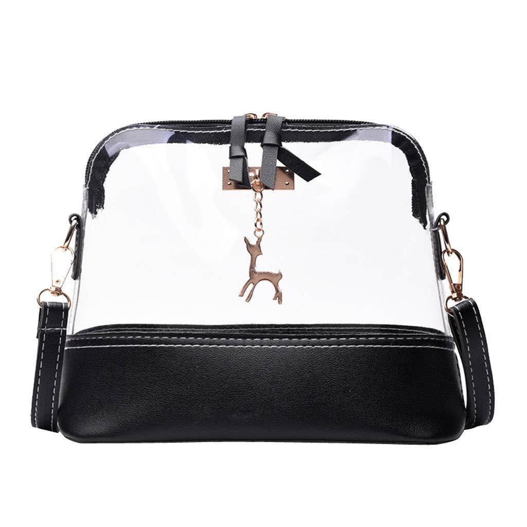 Memela Bag, Clear Messenger Bag Clear Shoulder Bag Transparent Purse Adjustable StrapShell Shoulder Bag Messenger Bag (Black)