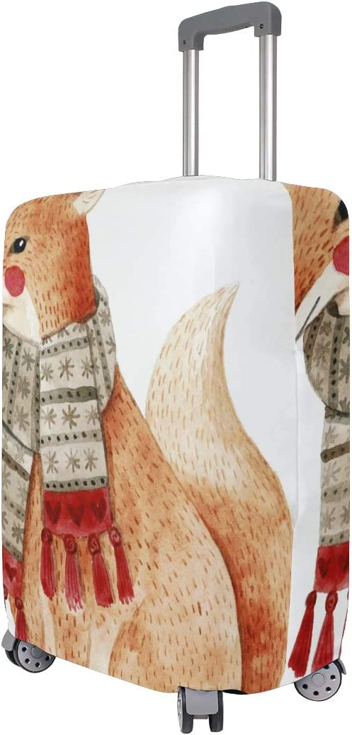 FANTAZIO A Fox With Scarf Suitcase Protective Cover Luggage Cover