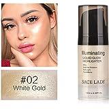 FidgetGear Liquid Highlighter 12ml Liquid Highlighter Shimmer Glow Face Body Professional Brightening Liquid #02 White Gold