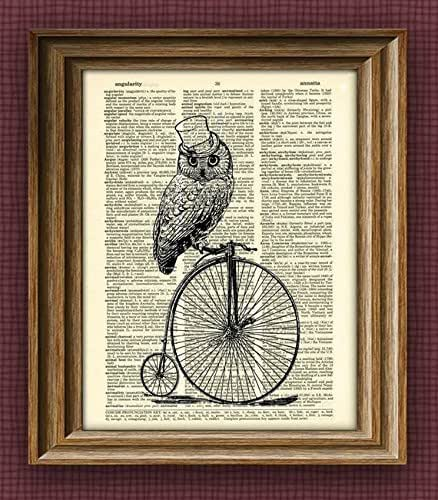 Owl Steampunk Art Print TOP HAT OWL on a Penny Farthing Bicycle bike print over an upcycled vintage dictionary page book art