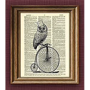 Owl Steampunk Art Print Top Hat Owl On a Penny Farthing Bicycle Bike Print Over an Upcycled Vintage Dictionary Page Book…