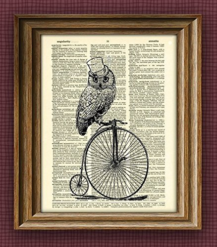 Owl Steampunk Art Print TOP HAT OWL on a Penny Farthing Bicycle bike print over an upcycled vintage dictionary page book art -