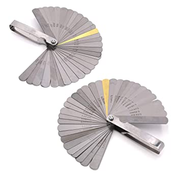 2 Pieces 32 Blades Steel Feeler Gauge Metric and Imperial Gap Measuring Tool Thickness from 0.0015 inch to 0.035 inch