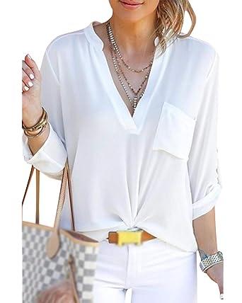 479044562d848 Cindeyar Chemise Blouse Femme Manche Longue Col v Poche Mousseline de Soie  T-Shirt à