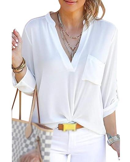 Cindeyar Chemise Blouse Femme Manche Longue Col v Poche Mousseline de Soie  T-Shirt à 211dfdf9736f