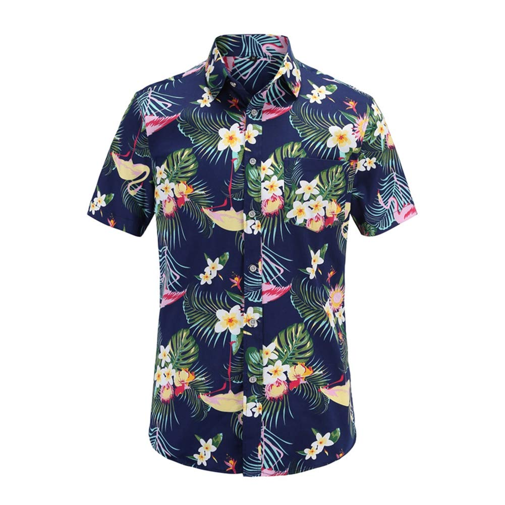 JS075-PR003,US-L QHF Mens Hawaiian Printed Shirt Men Summer Loose Short Sleeve Casual Beach Shirt