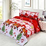 Anself 4pcs 3D Printed Merry Christmas Gift Comfort Polyester Bedding Set Duvet Cover + Bed Sheet + 2 Pillowcases Twin/Queen/King Size