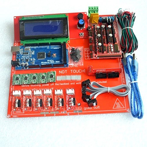 KINWAT Reprap Ramps 1.4 Kit with Mega 2560 r3 + Heatbed mk2b + 2004 LCD Controller + A4988 Driver + Endstops + Cables for 3D Printer by KINWAT