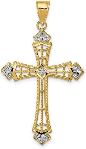 14K Solide Or Jaune Pendentif Croix-Poli Crucifix Collier Charme Femmes Hommes