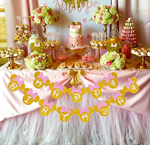 Amazon Pink And Gold Glitter Minnie Happy Birthday Banner Girls Themed Party Decoration Toys Games