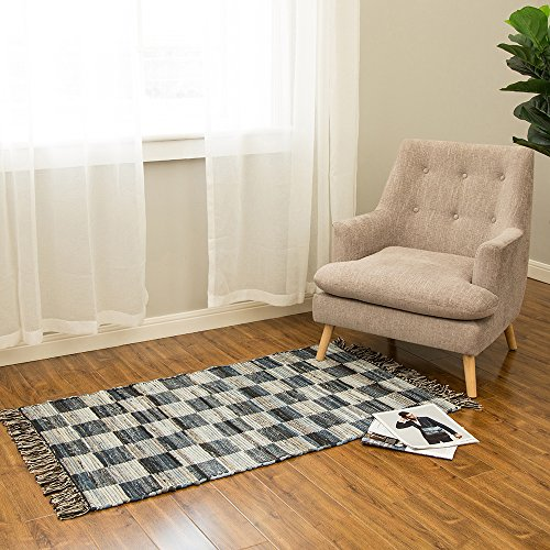 Shaw Rugs Indian Rug (Glitzhome 4.5'Lx2.6'W Hand Woven Denim Chevron Pattern Area Rug)