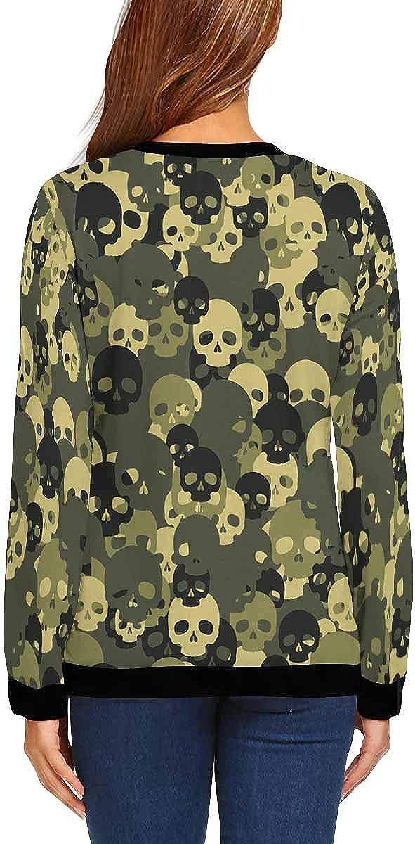 INTERESTPRINT Womens Casual Sweatshirt Skull Green Camouflage Crew Neck Long Sleeve Pullover Tops XS-XL
