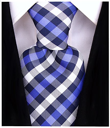 Blue Stripe Necktie (Gingham Plaid Ties for Men - Woven Necktie - Navy Blue and Royal Blue)