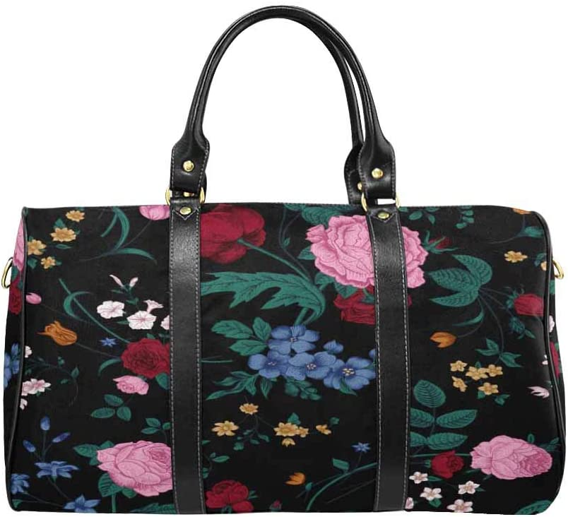 InterestPrint Carry-on Garment Bag Travel Bag Duffel Bag Weekend Bag Victorian Bouquet of Colorful Flowers