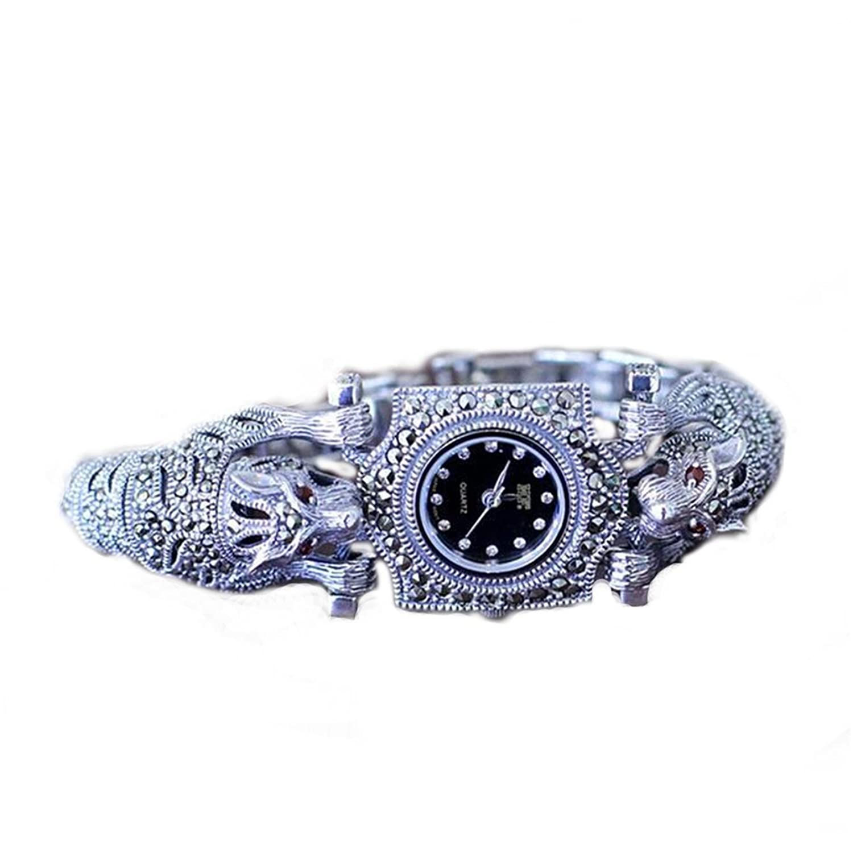 Damen-Armbanduhr Thailand Vintage-Stil Leopard Markasit Damen Armbanduhr Sterling Silber Schmuck
