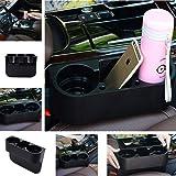 CarFrill Car Seat Wedge, Car Side Cup Holder, Drink Bottle Mount Stand Storage Organizer Multi-Function for Maruti Suzuki Eeco (Black)