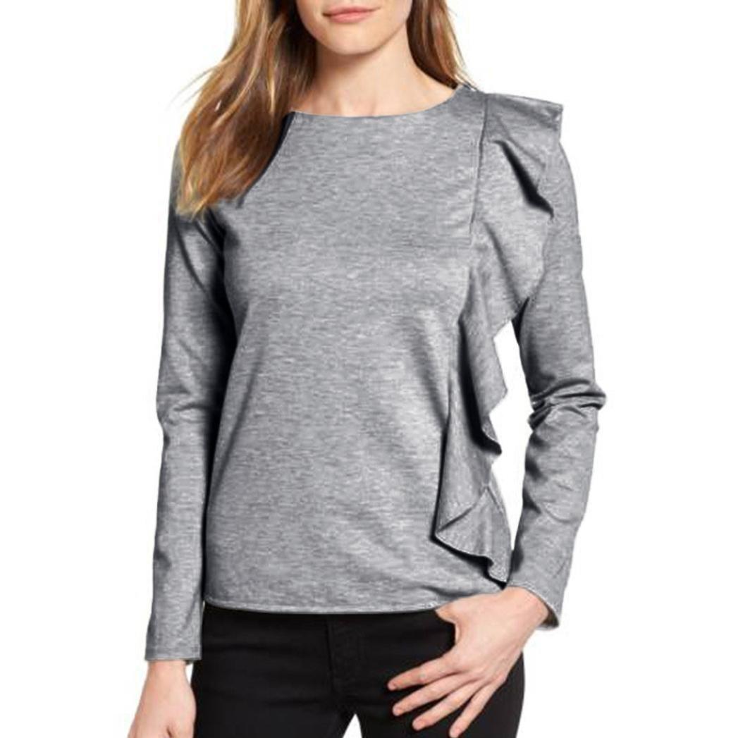 Ecurson Fashion Women Ladies Loose Casual Ruffles Long Sleeve Cotton Tops Shirt (XL)