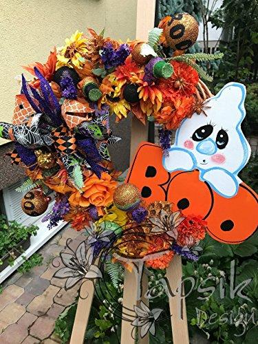 Halloween Front Door Ghost Wreath -