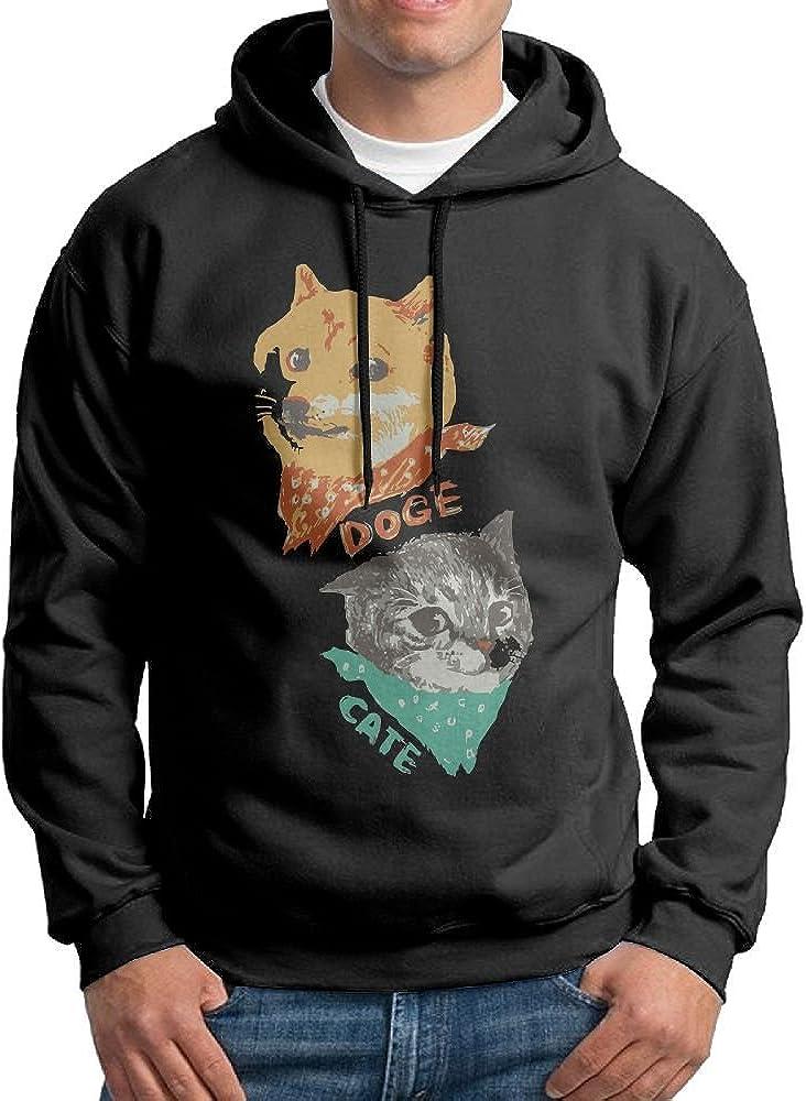 FDLB Mens Doge and Cate Travel Particular Hoodie Hooded Sweatshirt Black