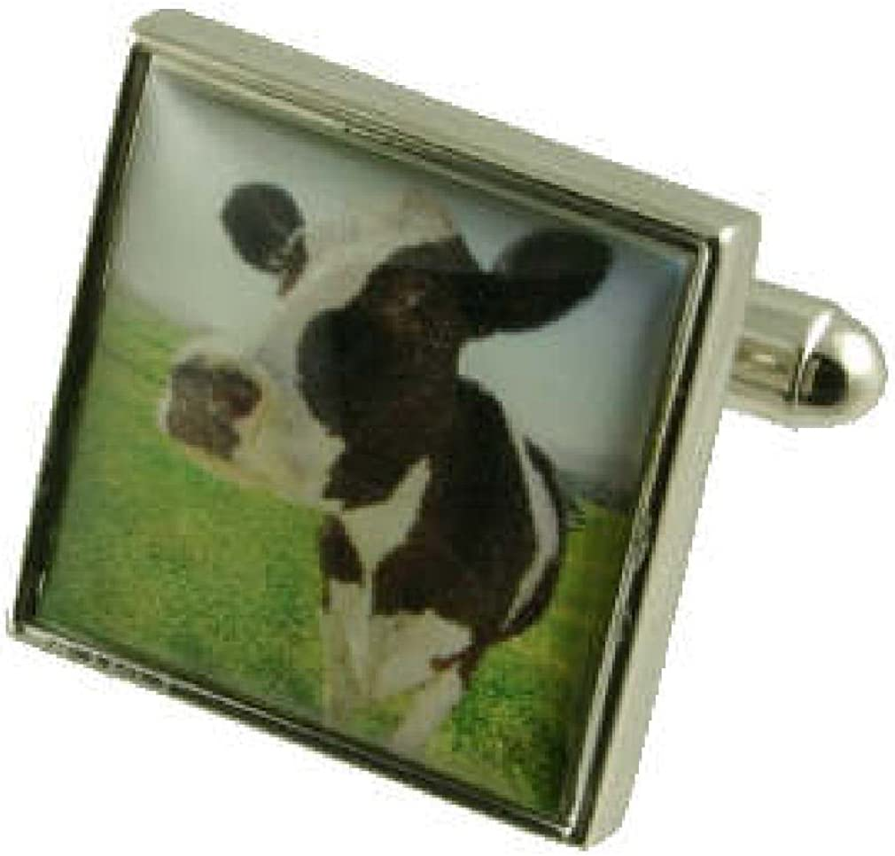 Personalised Engraved Message Box Select Gifts Farming Cow Cufflinks Solid Sterling Silver 925