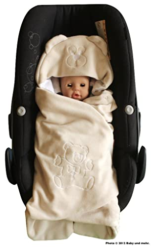 ByBoom® - Swaddling Wrap, Car Seat and Pram Blanket for Spring, Summer and Autumn/Fall, Universal for infant and child car seats eg; Maxi-Cosi, Britax, for a pushchair/stroller, buggy or baby bed, Color:Beige - Bear