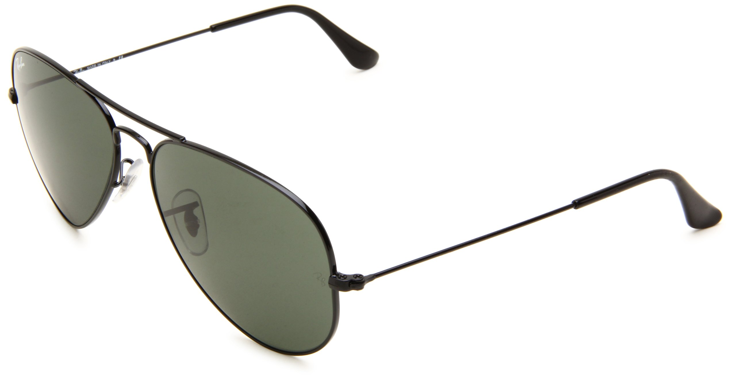 Ray-Ban Aviator Classic, Glossy Black/ Grey Green, One Size by Ray-Ban