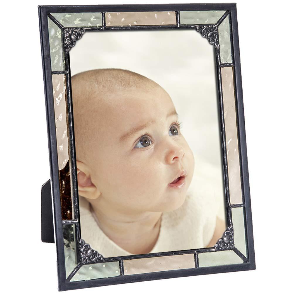 J Devlin Pic 404シリーズ イエローとサレムグリーン ステンドグラス製写真フレーム - 縦横4インチ×6インチまたは5×7インチのディスプレイ 5x7 Pic 404-57HV 5x7  B079RNB8VP