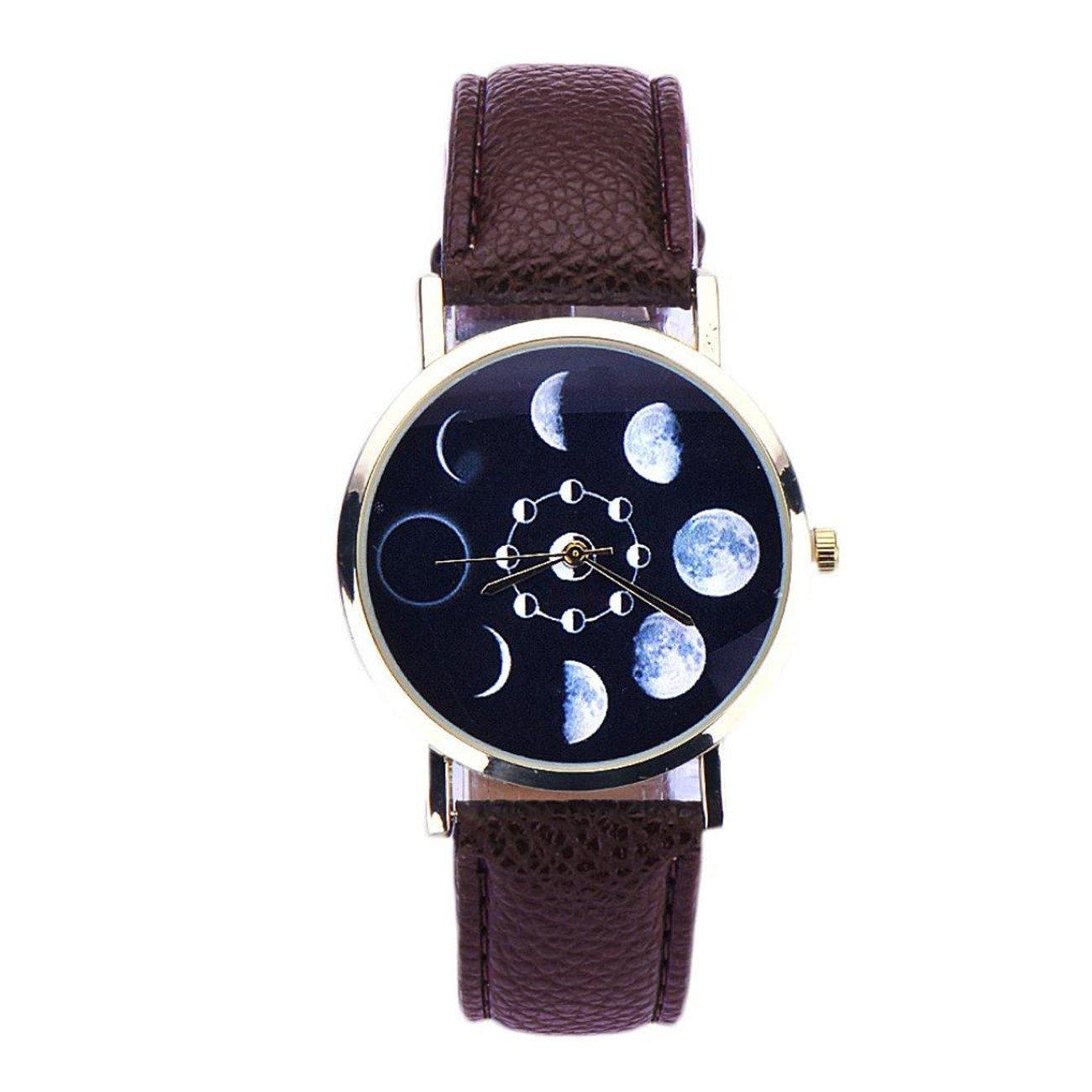 レディース腕時計レザーアナログクォーツLunar Eclipseパターン Case Diameter:3.8cm/1.4'' (Approx.) ブラウン B074GVVMBY ブラウン ブラウン