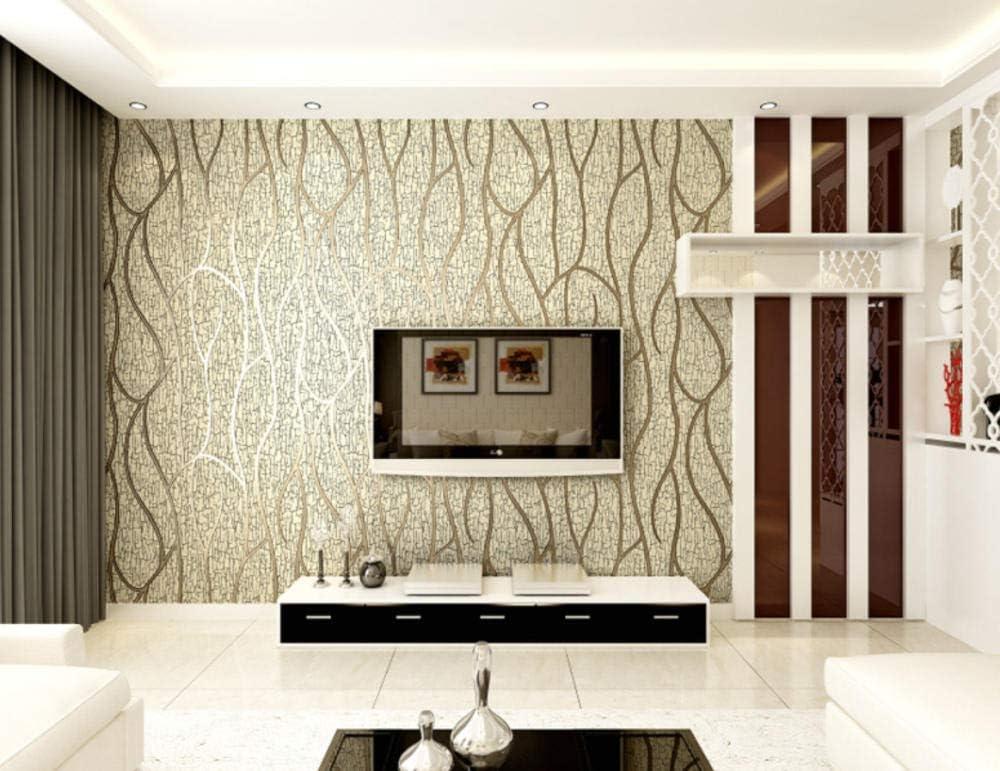 Brown Papier peint moderne minimaliste 3D solide courbe papier peint non tiss/é haute qualit/é peau de daim abstraite ligne salon salle /à manger fond
