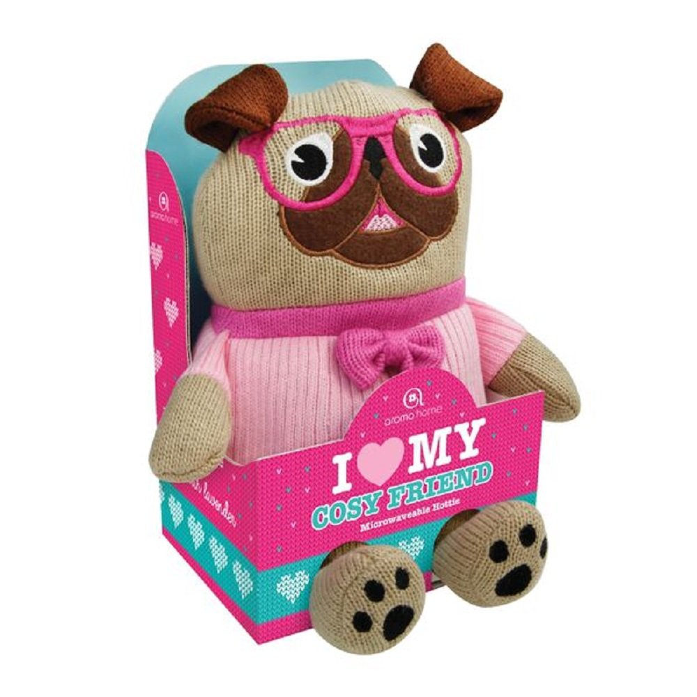 Amazon.com: Aroma Home Lavender Pug Microwaveable Knitted Cosy Friend W14Cm, H22.5Cm, D13Cm Multi-Colored: Health & Personal Care