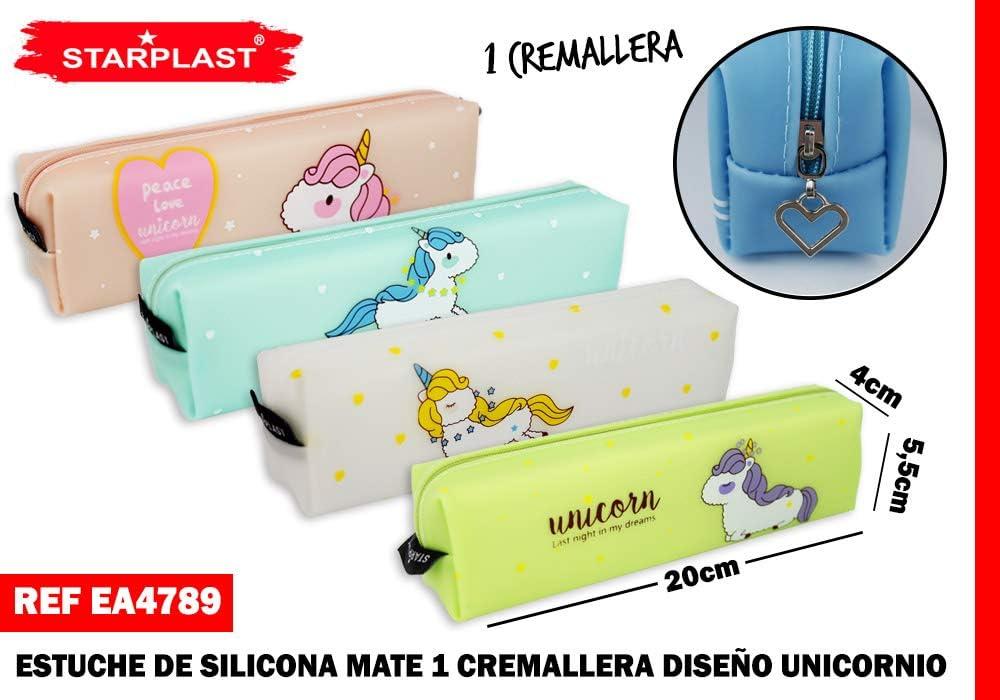 Starplast EA4789 - Estuche Escolar de Silicona Mate, de una Cremallera, diseño Unicornio: Amazon.es: Juguetes y juegos