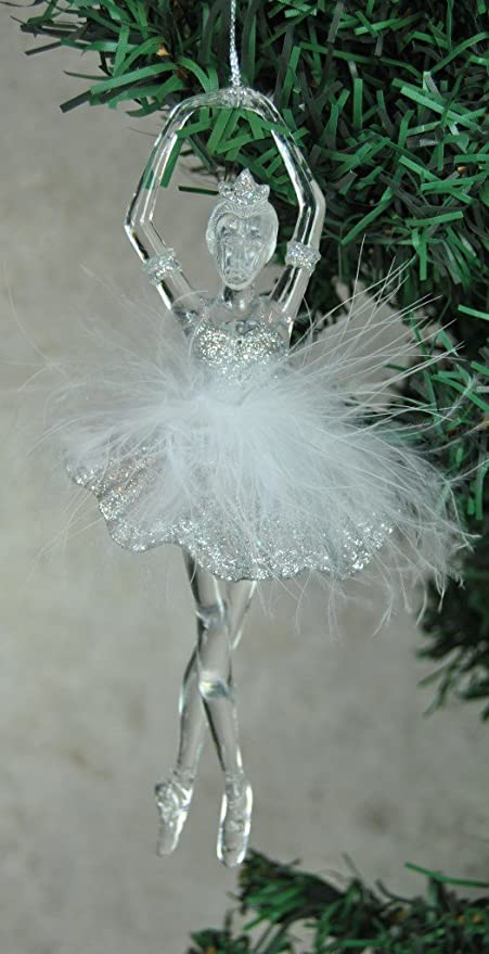 Festive Christmas Tree Hanging Ballerina Decoration With Feather