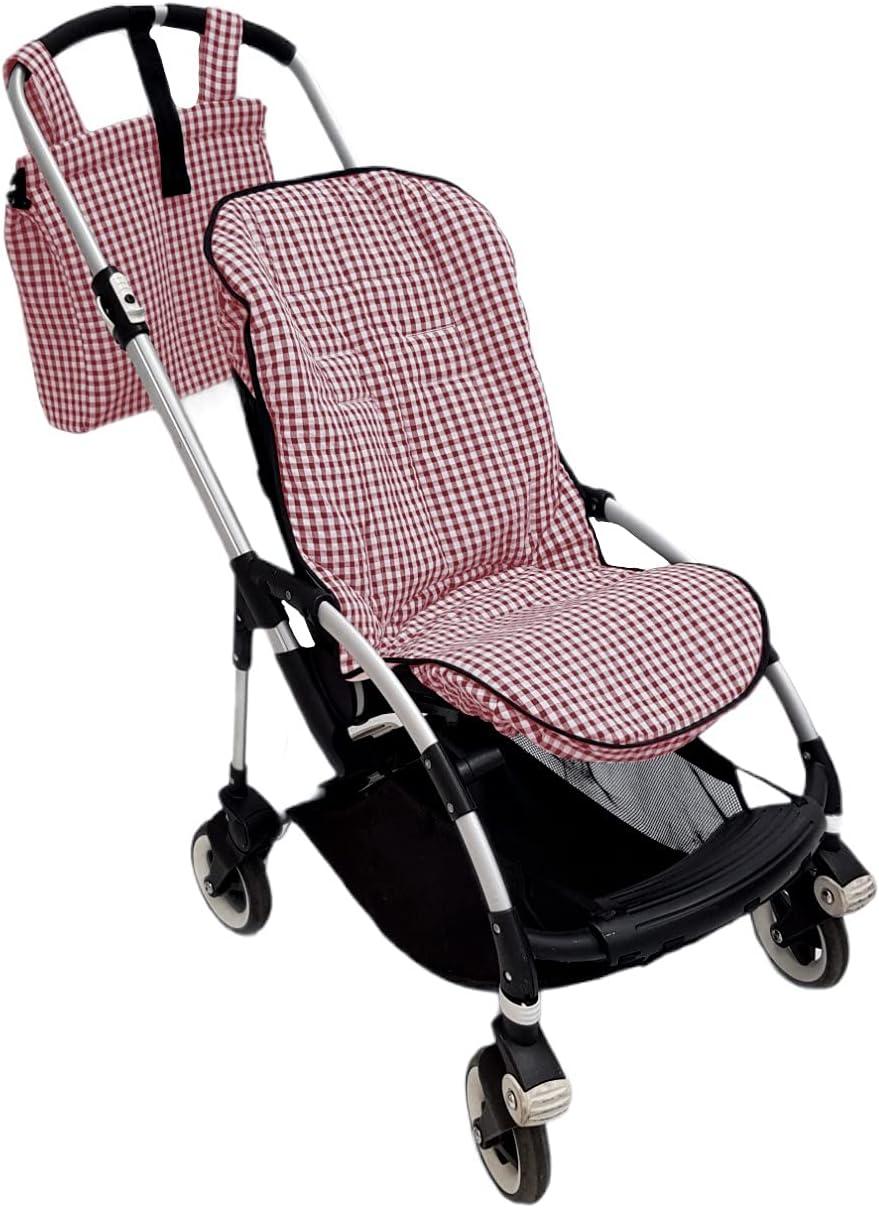 Conjunto PERSONALIZADO colchoneta o funda y bolsa panera para silla carrito Bugaboo Bee. Vichy (Rojo)