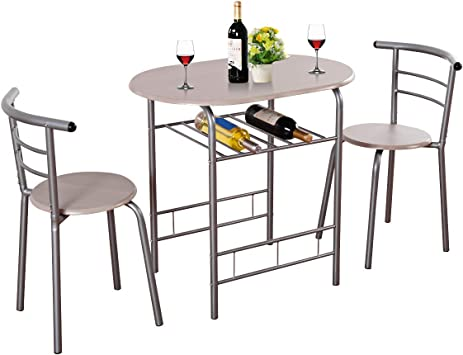 Giantex 3 Piece Dining Set Compact 2 Chairs and Table Set with Metal Frame  and Shelf Storage Bistro Pub Breakfast Space Saving for Apartment and ...