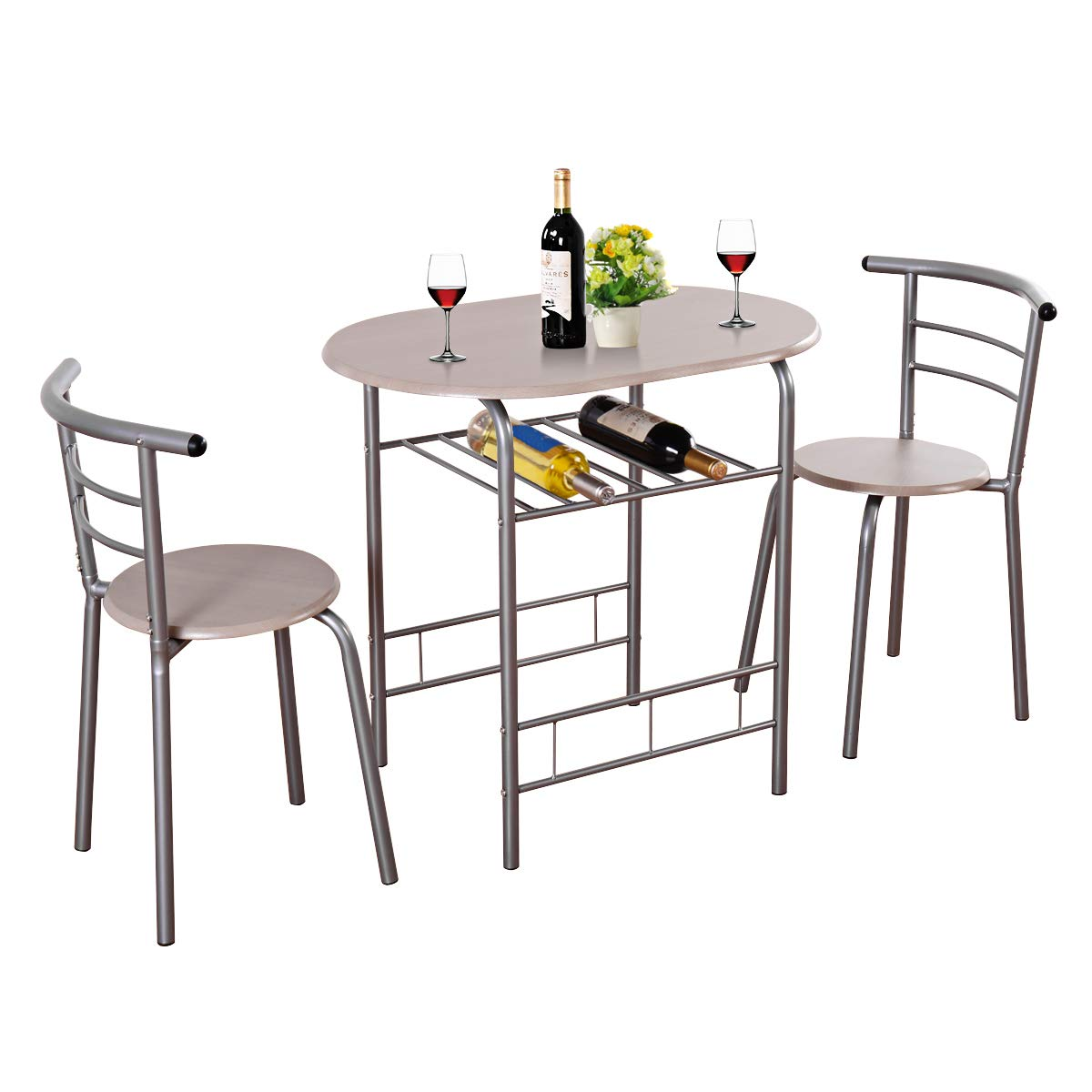 Giantex 3 Piece Dining Set Compact 2 Chairs and Table Set with Metal Frame and Shelf Storage Bistro Pub Breakfast Space Saving for Apartment and Kitchen (Beech) by Giantex