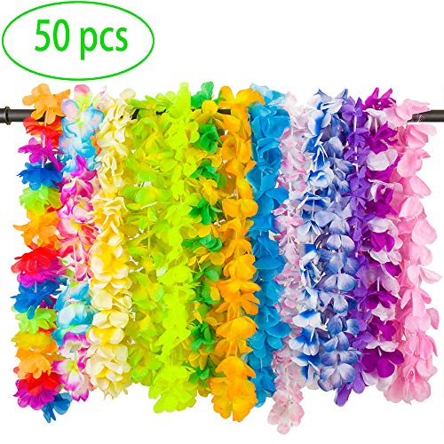 LongSky 50 Counts Hawaiian Leis Party Favors Tropical Hawaiian Necklace Silk Flower leis for Luau Beach Birthday Party Decorations and Party Supplies]()