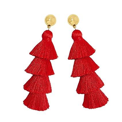 9ad10e24189e MagiDeal Pendientes Largos de Borla de Múltiples Capas Aretes para Mujer -  Rojo