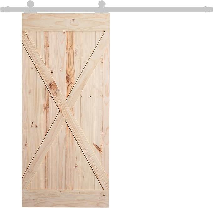 Homcom - Puerta corredera de madera de pino lacada, 213 x 96,5 x 3,5 cm, color natural: Amazon.es: Bricolaje y herramientas