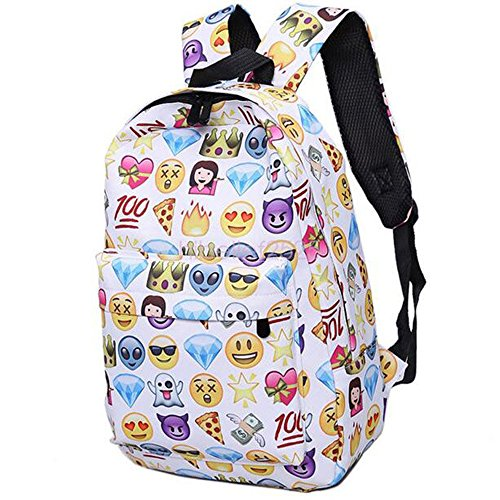 Dzhot51 Women Canvas Emoji Backpack Girls Cute Rucksack Students School Book Bags from Dzhot51