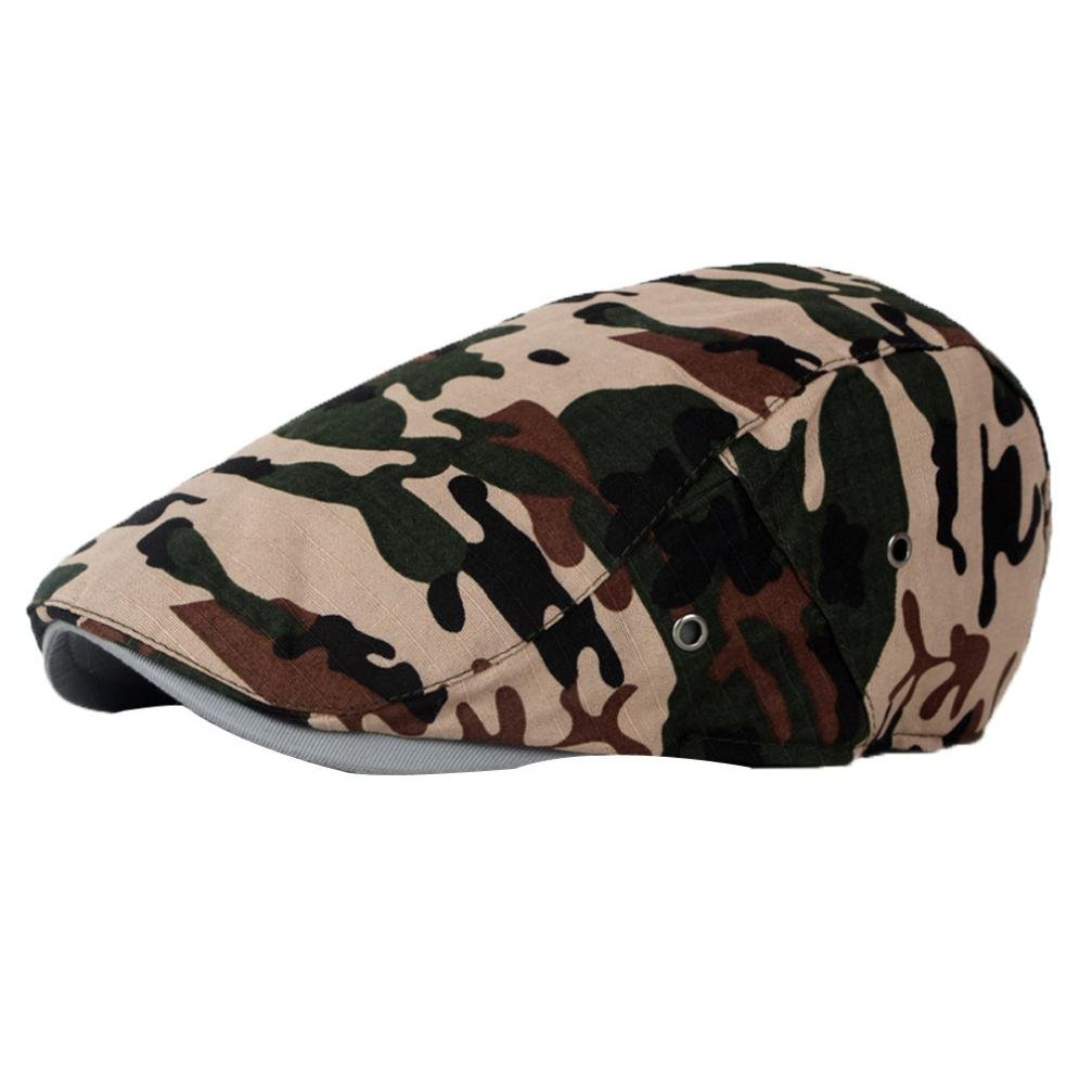 6c67d32d Besooly Men Mesh Camouflage Hat Newsboy Beret Ivy Cap Flat Gatsby Cap Golf  Driving (B) at Amazon Men's Clothing store: