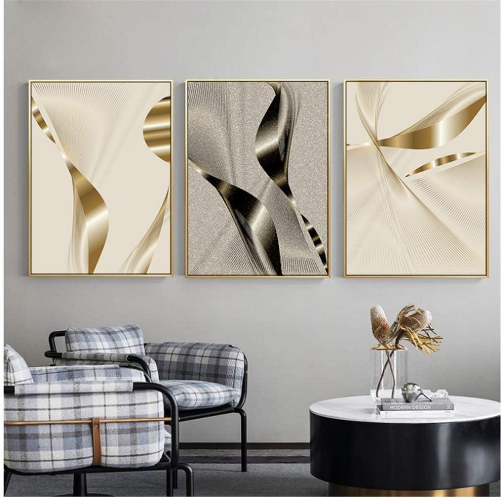 YaShengZhuangShi Lienzo Arte de la Pared Creativo Plateado Dorado Abstracto geométrico Patchwork Moderno Decorativo Cuadro de póster para habitación Oficina Hotel decoración 3x50x70cm sin Marco