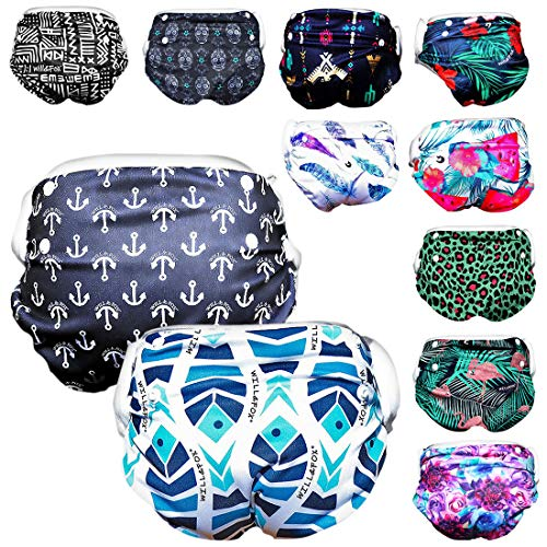 Will & Fox Reusable Swim Diaper Baby Girl Boy Adjusts for 3 Months – 3 Years