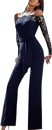 Monos De Vestir Mujer Fiesta Largos Elegantes Vintage Encaje Splicing Jumpsuit Para Bodas Manga Larga Hombros Descubiertos Slim Monos Largos Mono Fiesta Pantalones Con Cinturon Amazon Es Ropa Y Accesorios